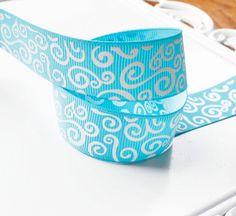 Swirls Turquoise Ribbon 5 Yards 7/8 inch Grosgrain Ribbon - Hairbow Supplies, Etc.