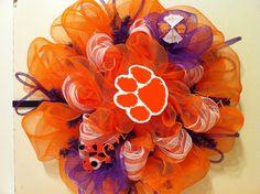 Clemson deco mesh wreath