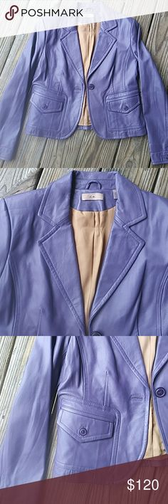 Vintage IE leather cropped gunmetal purple Jacket. In excellent condition. i.e. Jackets & Coats Blazers