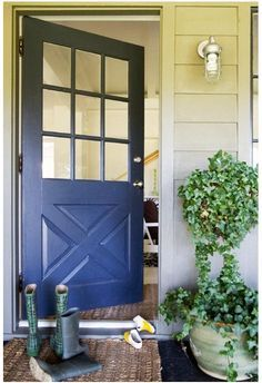 Good door blue color, also like the nautical porch light.