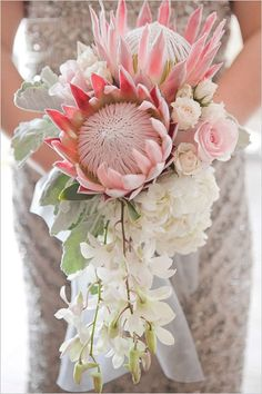 Protea bouquet anyone? Will you make a statement with your bouquet? We adore this one shot by see the entire feature on the . Flor Protea, Protea Bouquet, Protea Flower, Pink Bouquet, Protea Wedding, Floral Wedding, Wedding Flowers, Bouquet Wedding, Beach Wedding Favors