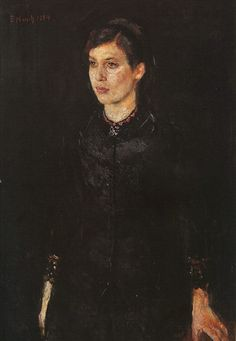 Edvard Munch - Sister Inger (1884).  Munch painted in two very distinct styles - this is realistic.