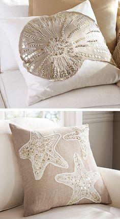 Вырезать элементы как на морском покрывале, покрасить и пришить к диванным подушкам