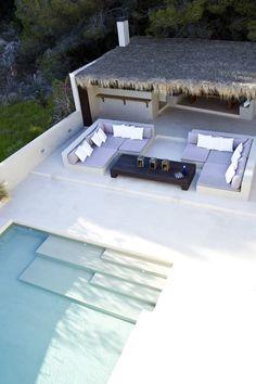 VistaSalinas-_0029 Outdoor Areas, Outdoor Seating, Cafe Restaurant, Swimming Pool Designs, Swimming Pools, Ibiza, Modern Pools, Garden Pool, Cool Pools