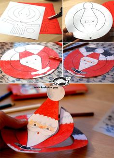 Paper Santa Claus - cut and color Christmas Activities, Christmas Crafts For Kids, Christmas Printables, Christmas Decorations To Make, Kids Crafts, Santa Crafts, Preschool Crafts, 242, Noel Christmas