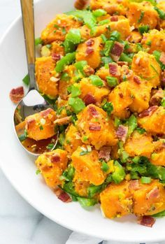 Sweet Potato Salad with Bacon — With a zippy mustard dressing, crunchy veggies, and crispy bacon, this sweet potato salad is a true crowd pleaser. Easy to make and we never have any leftover! Gluten free and dairy free. @wellplated
