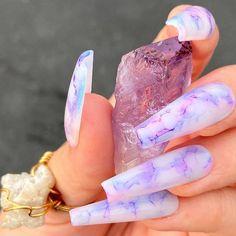 Purple Acrylic Nails, Acrylic Nails Coffin Short, Summer Acrylic Nails, Best Acrylic Nails, Purple Nails, Pink Nail Art, Edgy Nails, Stylish Nails, Swag Nails