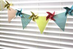 BIRTHDAY BANNER 8 Pinwheel 7 Pennants Afternoon Tea Party Pennant Garland Banner  (custom orders welcome)