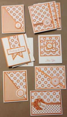 one sheet wonder cards from Bobbi's Treasure: I cut up my favorite piece of paper! Challenge from Stamp Tramps flocked orange cards