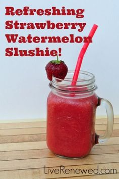 Delicious, Refreshing Strawberry Watermelon Slushies! Perfect for 4th of July this weekend, and refined sugar and artificial dye free!
