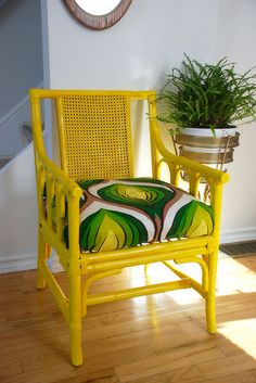 yellow rattan chair with bold lime patterned seat cushion - Home Decorating Magazines Rattan Furniture, Decor, Furniture Makeover, Rattan Chair, Yellow Furniture, Furniture, Home Decor, Bamboo Furniture, Painting Wicker Furniture