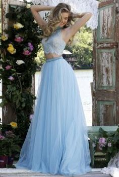 High Neck Blue Lace Bodice Layered Tulle Long Two-piece Prom Dress