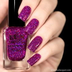 Use this magenta and purple holographic nail polish in a clear base for a…