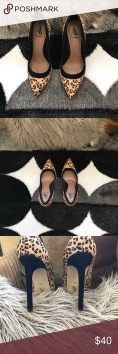 "Camel/black leopard calf hair Camel/black suede Leopard calf hair Worn once! Good condition! No box! 4""heel Shoes Heels"