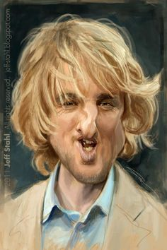 Jeff Stahl: Owen Wilson. Finished piece of Owen Wilson for BookFace challenge on Facebook.I thought it would be better to leave it loose like this.