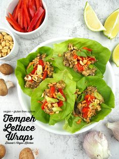 Vegan Lettuce Wraps are perfect for lunch, and they make a great appetizer or light dinner. These asian-inspired wraps are made with tempeh and Thai peanut sauce, and they're super easy to make. This recipe is vegan with a gluten-free option.#vegan #glutenfree #lunch #dinner Top Recipes, Raw Food Recipes, Lunch Recipes, Dinner Recipes, Vegan Breakfast Recipes, Delicious Vegan Recipes, Vegetarian Recipes, Plant Based Recipes, Vegetable Recipes