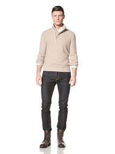 70% OFF Jacob Holston Men\'s Hewitt Mix Stitch Zipper Sweater (Camel)