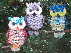 "Another By Anita is pleased to introduce Yo-Yo ""AL"" and his friends!  Each owl is made with 26 fabric yo-yos, 4 buttons, and 1 stick!  They are completely made by hand and are so much fun to put together!  Make one and you will be anxious to make another...and another!  The full-sized pattern, step-by-step instructions, and numerous detailed diagrams will make this an easy, fun project!  The pattern is available at newdesigns.anotherbyanita.com"
