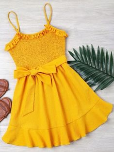 Spring and Summer Yes Solid Sleeveless Spaghetti Mini A-Line Casual and Day and Going Casual Ruffle Shirred Cami Dress Stylish Dress Designs, Stylish Dresses, Cute Dresses, Casual Dresses, Baby Girl Dress Patterns, Dresses Kids Girl, Girl Outfits, Girls Fashion Clothes, Girl Fashion