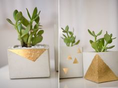 To make any kind of concrete planter you basically need two types of concrete boxes or two types of containers. They need to be in two sizes: a bigger one for the mold and a smaller one for the interior. After that you can spray paint the planters.{found on ruffledblog}.