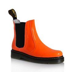 I WANT Fluorescent Orange Patent Leather Martin Boots