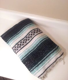 Vintage Southwestern Blanket Green/Teal Pastel Woven Wool Throw Navajo  Aztec Tribal Mexican Indian Rug
