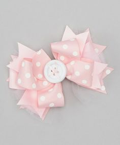 Love this Baby Pink & Cream Polka Dot Button Bow Clip by Payton Grace Bows on #zulily! #zulilyfinds