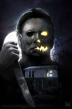 "Horror Movie Art : ""Halloween Night by Dwayne Wingert aka @ deviantart Horror Movie Tattoos, Horror Movie Characters, Best Horror Movies, Classic Horror Movies, Scary Movies, Terror Movies, Horror Villains, Fröhliches Halloween, Halloween Movies"
