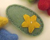KEINE SLIP Wollfilz Haar clip - Senf Seestern-Mini - Tee grün