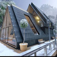 Sustainable Architecture, Residential Architecture, Architecture Design, Pavilion Architecture, Contemporary Architecture, Architecture Durable, A Frame House Plans, A Frame Cabin, Triangle House