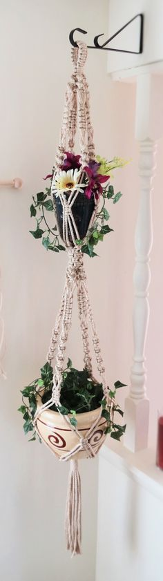 Double macrame plant hanger, 2 tier, PEARL, hanging planter, plant holder, pot…