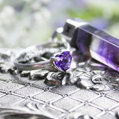 Amethyst is power stone used to instil calmness, and aid in insomnia ❉ www.shopdixi.com ❉ shopdixi // dixi // jewellery // jewelry // rings // amethyst // crystal // silver // necklaces // goth // grunge // boho // bohemian // witchy // enchanting // magical // mystical