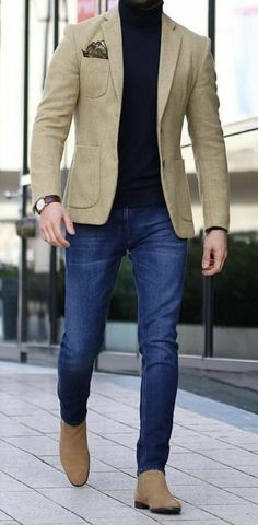 Shop Jeans, Shirts and More.IG - Men's style, accessories, mens fashion trends 2020 Blazer Outfits Men, Stylish Mens Outfits, Casual Outfits, Men Casual, Casual Styles, Best Mens Fashion, Mens Fashion Suits, Fashion Shirts, Fashion Edgy