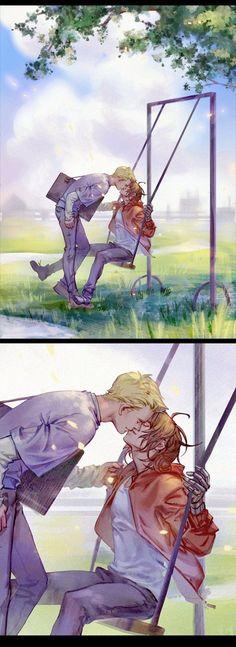 Steve kissing Bucky on a swing Marvel Art, Marvel Avengers, Marvel Comics, Marvel Actors, Bucky Barnes, Winter Soldier, Dreamworks, Captain America And Bucky, Bucky And Steve