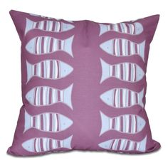 E by Design Beach Vacation Somethings Fishy Print Outdoor Pillow - O5PAN425BL14OR10-18