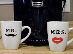 Mr and Mrs Moustache and Lipstick coffee mugs by mjcoonts1 on Etsy. $10.00, via Etsy.