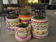 Old tires recycled into planters!!!!