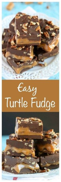 Fudge and a Giveaway! An easy chocolate fudge recipe with a caramel center and chopped pecans. Everyone will love this Turtle Fudge!An easy chocolate fudge recipe with a caramel center and chopped pecans. Everyone will love this Turtle Fudge! Mini Desserts, Christmas Desserts, Just Desserts, Delicious Desserts, Christmas Candy, Christmas Fudge, Christmas Crack, Holiday Treats, Christmas Cookies