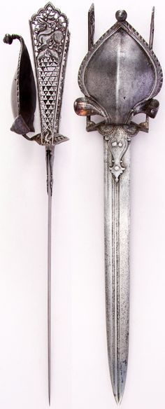 Indian katar, with prominent cobra, yali's (leogryphs) and fish, from Thanjavur (formerly Tanjore) in South India, 17th century, European blade, L. 21 3/4 in. (55.24 cm); W. 4 9/16 in. (11.6 cm); Wt. 27.5 oz. (779.6),Met Museum, Bequest of George C. Stone, 1935.