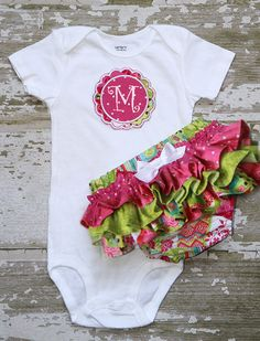 Patchwork hot pink, lime green, polka dots ruffle bottom bloomers and Matching Applique Onesie