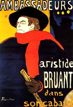 Ambassadeurs Aristide Bruant in his cabaret by Henri de Toulouse-Lautrec Henri De Toulouse Lautrec, Cabaret, Victoria And Albert Museum, Belle Epoque, History Of Illustration, Illustrations, Westerns, Art Gallery, Famous Words