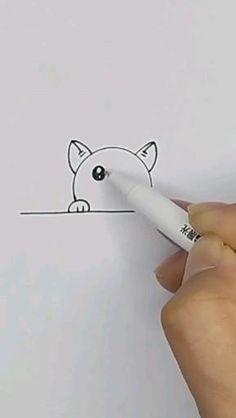 Easy Drawings For Kids, Cute Little Drawings, Art Drawings Sketches Simple, Pencil Art Drawings, Doodle Drawings, Drawing For Kids, Doodle Art, Cute Drawings, Drawing Ideas