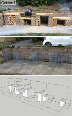 bbq area plans to finished product Outdoor Bbq Kitchen, Outdoor Cooking Area, Outdoor Kitchen Design, Garden Nook, Garden Yard Ideas, Patio Ideas, Diy Bbq Area, Gabion Baskets, Brick Bbq