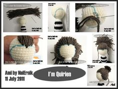 Amigurumi Hair - Tutorial  I like the idea of running different colored string along the hairline. Never thought of that!