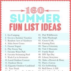 Summer Fun List of 160 ideas of activities to do with or without the kids this summer!