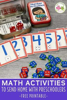 Add these free printable 1-12 number cards, counters, & dice to an Altoids tin or soap container to create fun math activities for your classroom. Perfect for preschool or pre-k, or at home learning. You can use the printables with your kids for a variety of math learning & counting activities. Ideas for learning games and activities are included. Use for your math centers and stations, as a take-home activity, as a screen-free activity at restaurants, or as a student gift. Interactive Learning, Learning Games, Early Learning, Small Group Activities, Fun Math Activities, Free Printable Numbers, Math Work, Free Math, Math Concepts