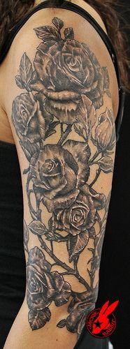 Rose Sleeve Tattoo by Jackie Rabbit by Jackie rabbit Tattoos, via Flickr