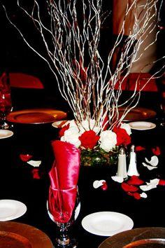 Red black white wedding centerpieces