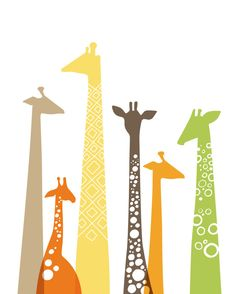 giraffes giclée print. 8X10. green, orange, brown, yellow.. $20.00, via Etsy.