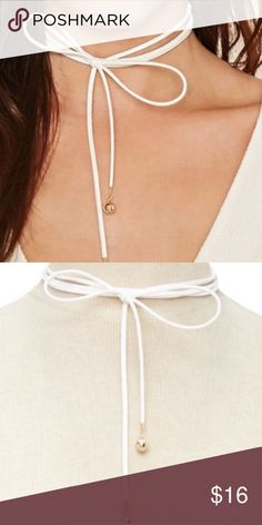 White Suede Lariat wrap NECKLACE CHOKER gold Versatile and sexy! New WHITE FauX Suede Leather NECKLACE lariat and choker combo: two cords are chokers and additionally two strands hang down so you can tie them any which way! with GOLD TONE DANGLE tips! Gold chain and lobster clasp. One size fits all!  (J14) Nasty Gal Jewelry Necklaces